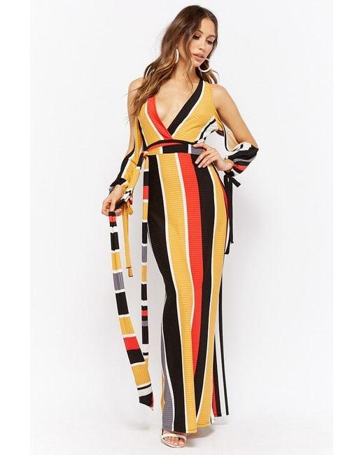 d30b19169a Forever 21 - Black Striped Surplice Maxi Dress - Lyst ...