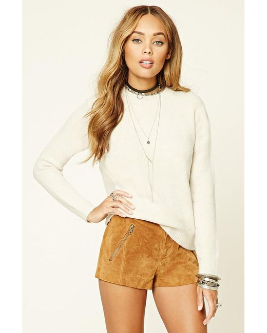 Forever 21 - Natural Heather Knit Sweater Top - Lyst