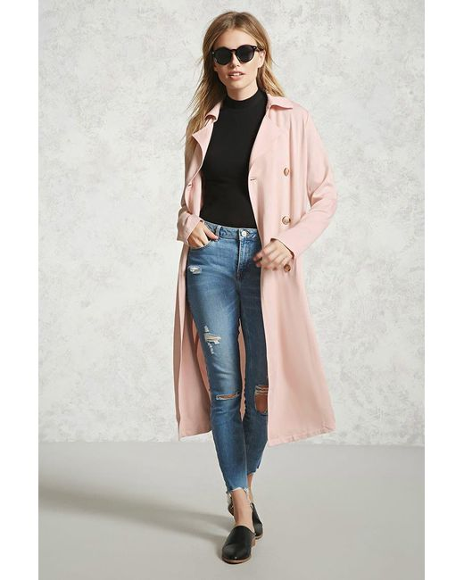 Forever 21 | Pink Double-breasted Trench Coat | Lyst