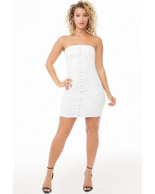 fd55a621a6a Forever 21 - White Hook-and-eye Mini Bodycon Tube Dress - Lyst ...