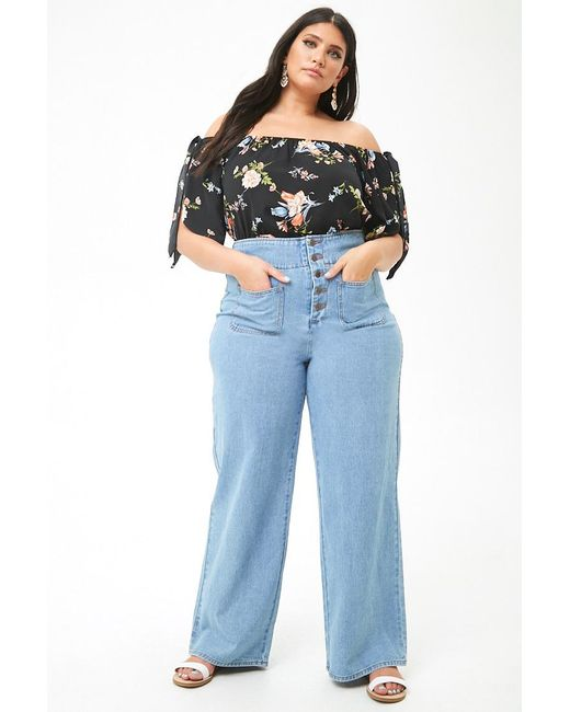 77d7f2b0a7a ... Forever 21 - Black Plus Size Floral Off-the-shoulder Top - Lyst