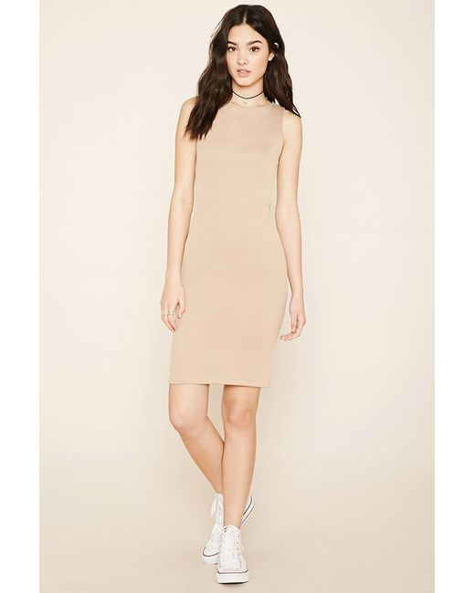 Forever 21 | Natural Stretch Knit Bodycon Dress | Lyst
