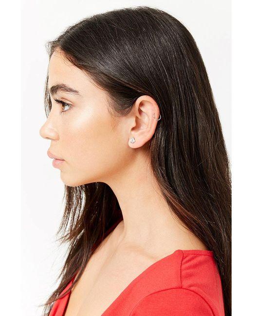 Forever 21 - Metallic Women's Faux Gem Crown Stud Earrings - Lyst