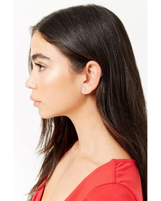 Forever 21 - Metallic Cubic Zirconia Crown Stud Earrings - Lyst