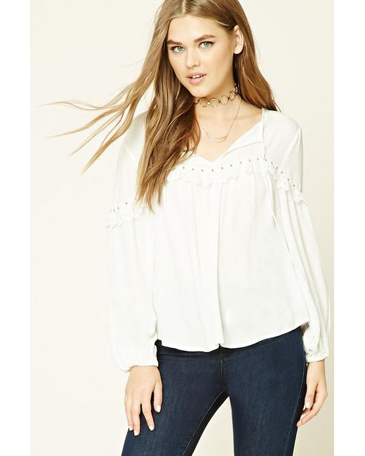 Forever 21 | Multicolor Crochet Lace-trimmed Top | Lyst