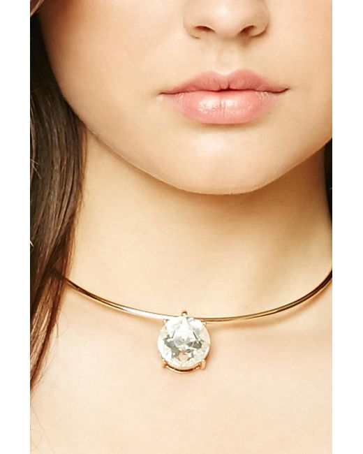 Forever 21   Metallic Faux Gem Collar Necklace   Lyst