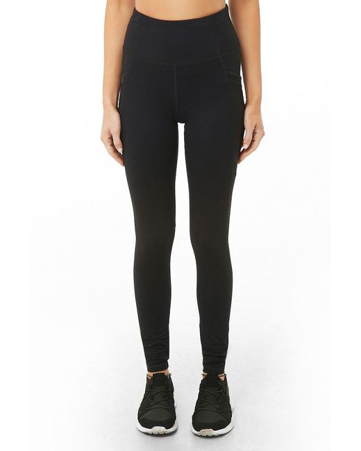 7f3d4e6043128a Lyst - Forever 21 Active Ribbed-trim Leggings in Black - Save 19%