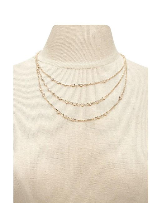 Forever 21 - Multicolor Rhinestone Layer Necklace - Lyst