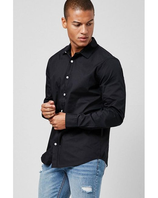8b50443466 Forever 21 - Black  s Slim-fit Shirt for Men - Lyst ...