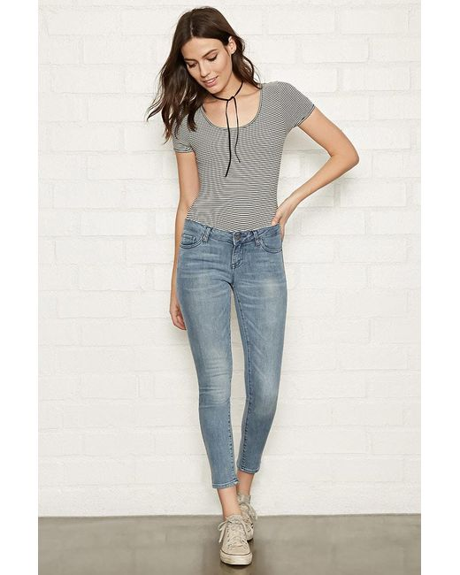 Forever 21 - Blue Sanded Wash Low-rise Skinny Jeans - Lyst