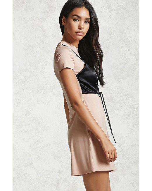 426dec8d371 ... Forever 21 - Black Satin Corset T-shirt Dress - Lyst