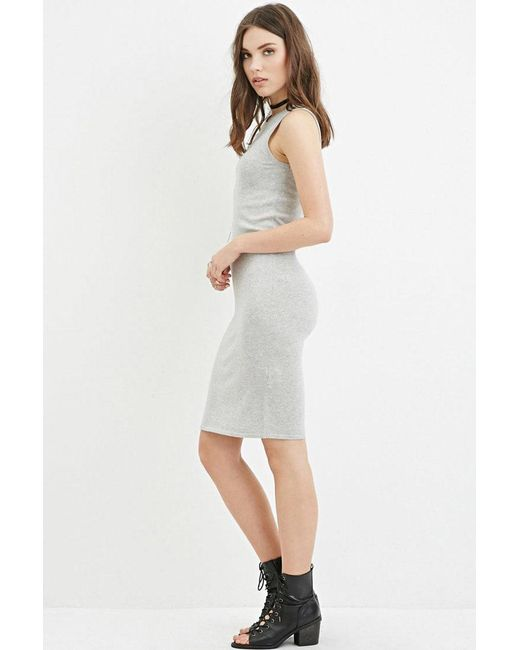Forever 21 | Gray Heathered Jumper Midi Dress | Lyst