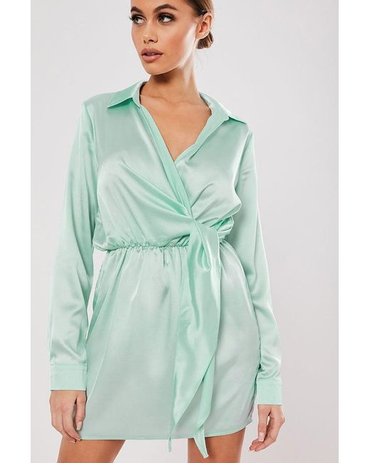 Missguided - Green Surplice Satin Dress At - Lyst