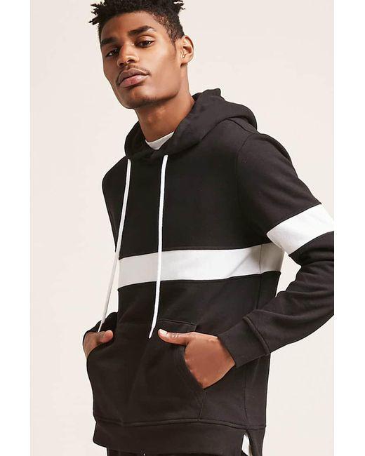 Forever 21 - Black Contrast Stripe Hoodie for Men - Lyst