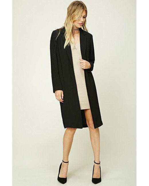 Forever 21   Black Contemporary Longline Coat   Lyst
