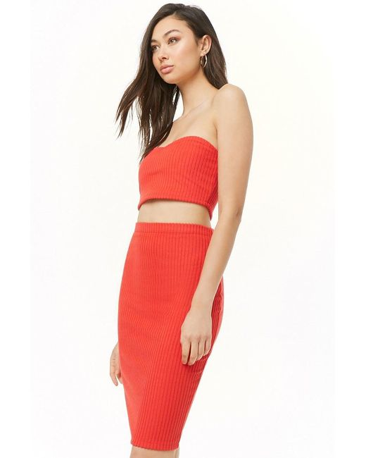 6cf9bc01ed Lyst - Forever 21 Ribbed Brushed Knit Cropped Tube Top   Skirt Set ...