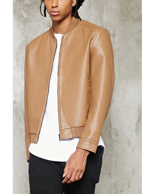 Forever 21 | Brown Faux Leather Bomber Jacket for Men | Lyst