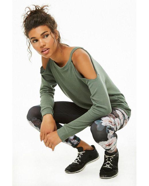 Forever 21 - Green Women's Active Open-shoulder Top - Lyst
