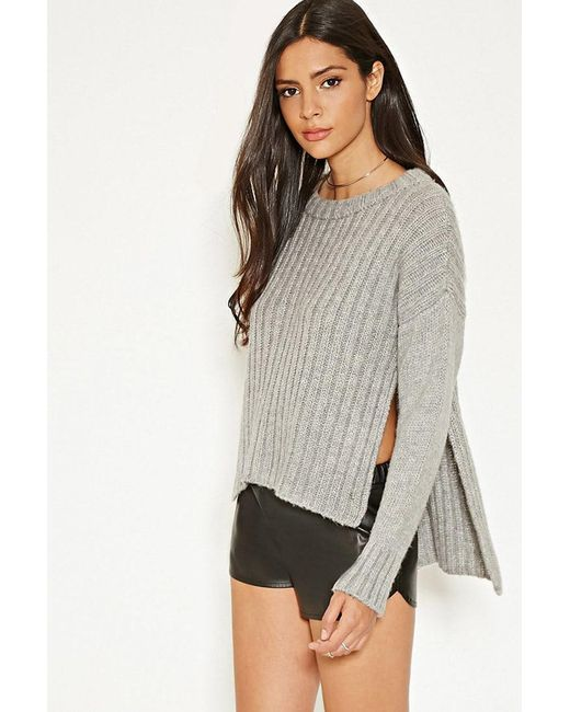 Forever 21 - Gray Mlm Side-slit Ribbed Sweater - Lyst