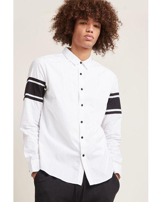 Forever 21 | White Slim-fit Stripe Sleeve Shirt for Men | Lyst