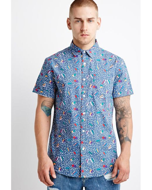 Forever 21 - Blue Geo Abstract Print Shirt for Men - Lyst