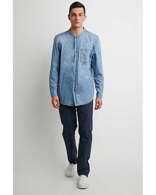 Forever 21 | Blue Mandarin Collar Denim Shirt for Men | Lyst