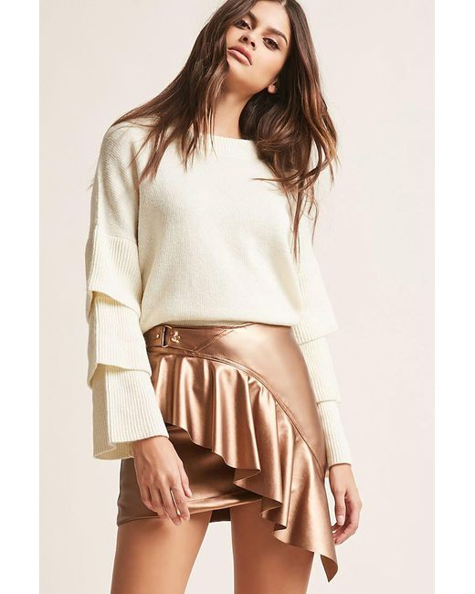 29dca1f77 Forever 21 - Brown Women's Faux Leather Ruffled Mini Skirt - Lyst ...