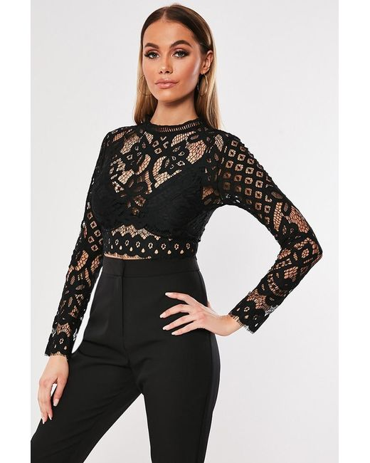 Missguided - Black Eyelash Lace Top At - Lyst