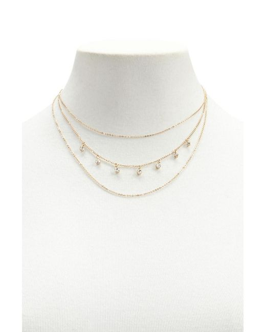Forever 21 - Metallic Rhinestone Charm Layered Necklace - Lyst