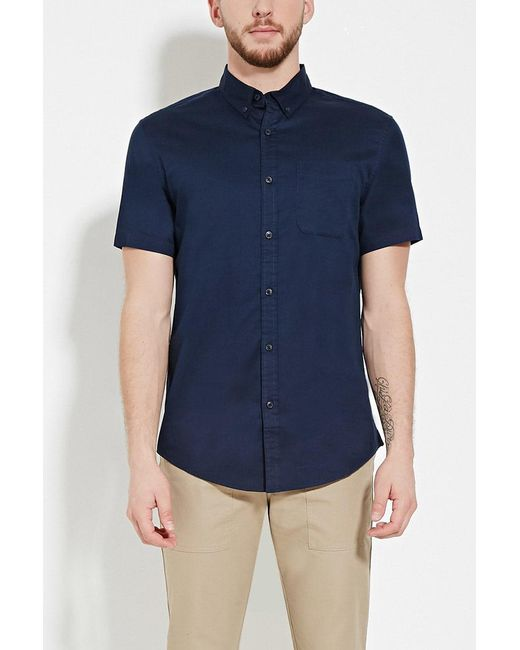 Forever 21 | Blue Button-collar Shirt for Men | Lyst