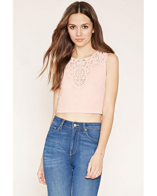 Forever 21   Pink Crochet-front Top   Lyst