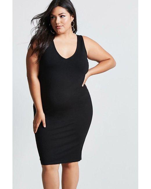Forever 21   Black Plus Size V-neck Bodycon Dress   Lyst