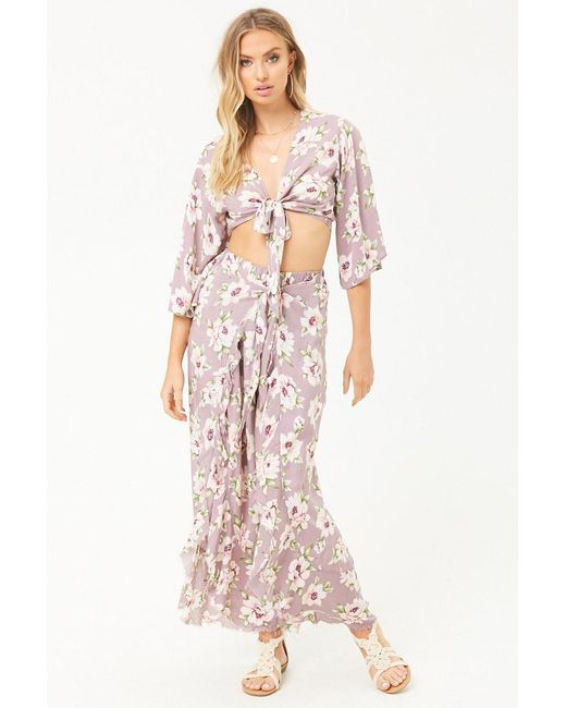 Forever 21 - Purple Surf Gypsy Floral Pants - Lyst