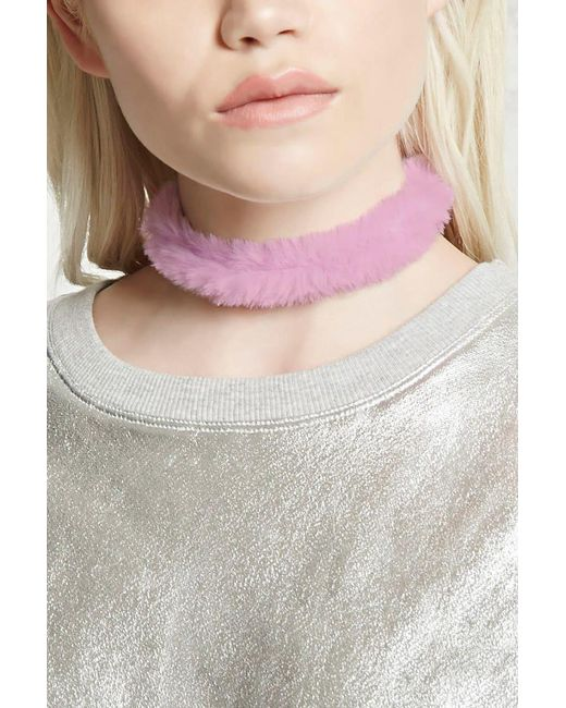 Forever 21 - Purple Fuzzy Faux Fur Choker - Lyst