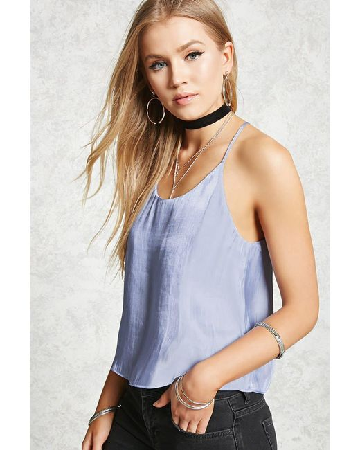 Forever 21 - Blue Satin Cami - Lyst