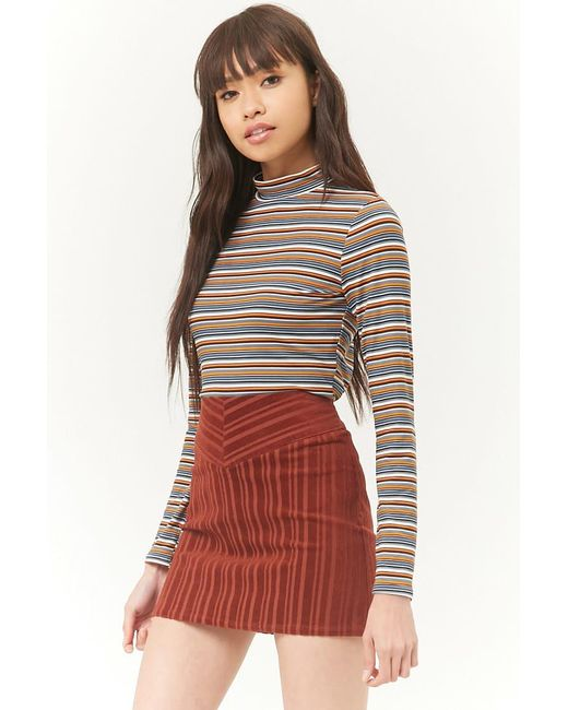 9d7f1ca076 Forever 21 - Multicolor Striped Corduroy A-line Mini Skirt - Lyst ...