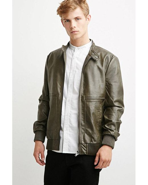 Forever 21 | Natural Faux Leather Snap-collar Jacket for Men | Lyst
