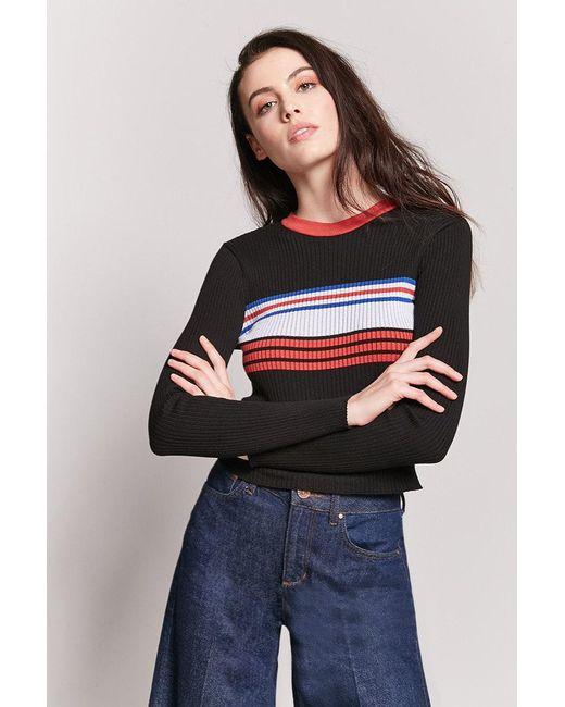 Lyst Forever 21 Contrast Stripe Crop Knit Top In Black