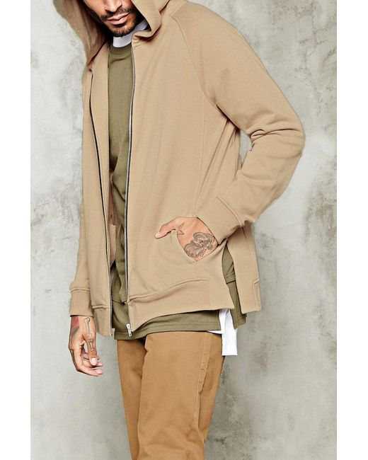 Forever 21 - Natural 's Side-slit Zippered Hoodie for Men - Lyst
