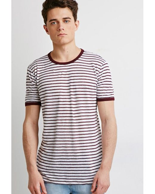Forever 21 | Purple Striped Linen Ringer Tee for Men | Lyst