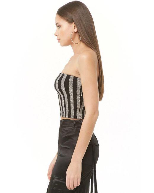2a8662ccc2 ... Forever 21 - Black Metallic Striped Tube Top - Lyst