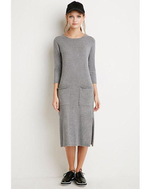 Forever 21 | Gray Shift Sweater Dress | Lyst