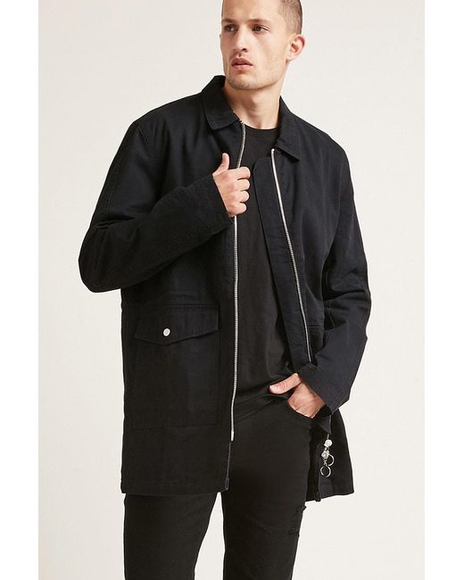 Forever 21 | Black Longline Utility Jacket for Men | Lyst