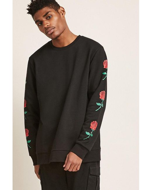 c140947564d67 Forever 21 's Rose Graphic Sweatshirt in Black for Men - Save 58% - Lyst