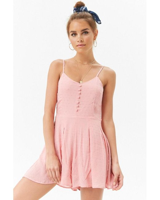 92761f9bd33 ... Forever 21 - Pink Pleated Cami Romper - Lyst