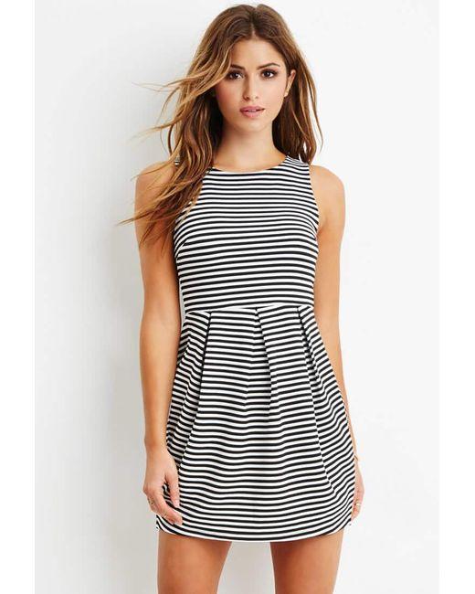 Forever 21 | Black Striped A-line Dress | Lyst