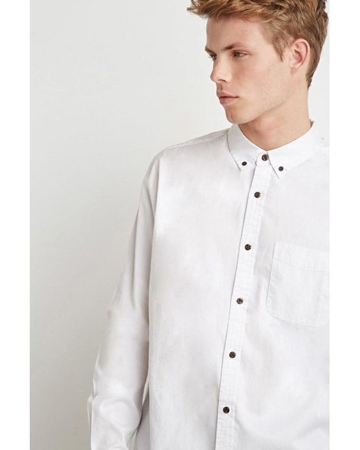Forever 21 - White Classic Button-collar Shirt for Men - Lyst