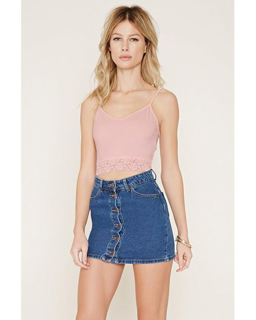 Forever 21   Blue Lace-trimmed Cropped Cami   Lyst