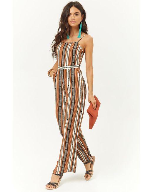 9cc810551e53 Forever 21 - Multicolor Women s Striped Wide-leg Jumpsuit - Lyst ...