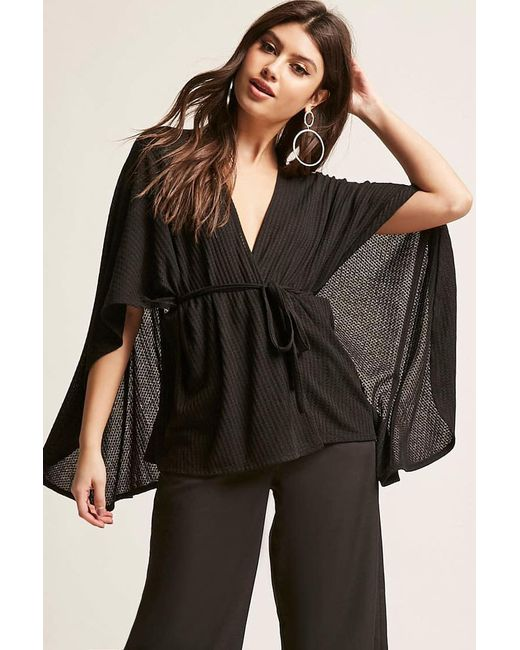 Forever 21 | Black Self-tie Cape Top | Lyst